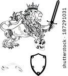 lion heraldic coat of arms... | Shutterstock .eps vector #187291031