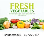 mixed vegetables on isolated...   Shutterstock . vector #187292414
