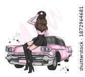 beautiful girl in stylish... | Shutterstock .eps vector #1872964681
