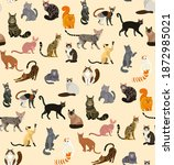 colorful different cat breeds... | Shutterstock .eps vector #1872985021