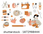 set of sewing elements ... | Shutterstock .eps vector #1872988444