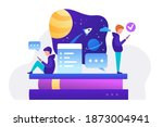 two people reading messages  a... | Shutterstock .eps vector #1873004941