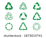 set green recycle icons. label... | Shutterstock .eps vector #1873015741