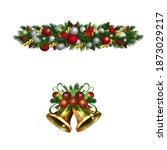 christmas holly brunches...   Shutterstock .eps vector #1873029217