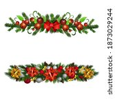 christmas holly brunches...   Shutterstock .eps vector #1873029244
