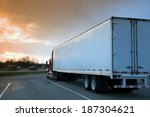 semi truck parked on rest area. ... | Shutterstock . vector #187304621