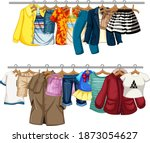 many clothes hanging on a line... | Shutterstock .eps vector #1873054627