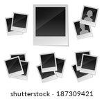 empty photo frames set | Shutterstock . vector #187309421