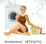 basket,bath,bathroom,beautiful,bleach,blond,blonde,bottle,chores,cleaning,clothes,clothing,detergent,dirty,doing