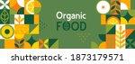 organic food banner in flat... | Shutterstock .eps vector #1873179571