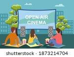 open air cinema. movie night...   Shutterstock .eps vector #1873214704