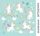 vector set with unicorns and... | Shutterstock .eps vector #1873265494