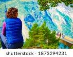 Tourist Woman Over Stegastein...