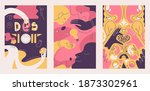 cards in pink and yellow colors ... | Shutterstock .eps vector #1873302961