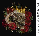 embroidery human skull  golden... | Shutterstock .eps vector #1873341664