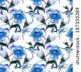 peonies seamless pattern | Shutterstock . vector #187335389