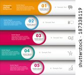 infographic 5 lines with circle ... | Shutterstock .eps vector #187338119