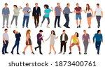 cartoon men and women walking... | Shutterstock .eps vector #1873400761