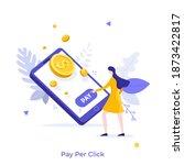woman pressing payment button... | Shutterstock .eps vector #1873422817