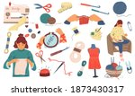 needlework. sewing knitting and ... | Shutterstock .eps vector #1873430317
