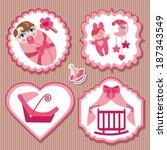 a set of cute cartoon label... | Shutterstock .eps vector #187343549