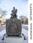"""Small photo of Penza. Russia-December 2020. Tourist overview of the city. Sculpture composition """" Box """"of Russian folk Proverbs"""". The hero of the exhibition is a Russian soldier who loves Proverbs."""