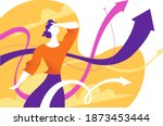 a woman looking into the future ... | Shutterstock .eps vector #1873453444