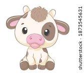 Cute Baby Cow Cartoon...