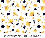yellow floral daisies and... | Shutterstock .eps vector #1873546657