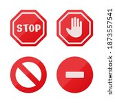 stop sign icon notifications... | Shutterstock .eps vector #1873557541