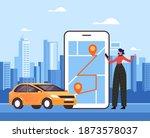 woman traveler character making ... | Shutterstock .eps vector #1873578037