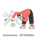 man holds up a magnifying glass ...   Shutterstock .eps vector #1873582864