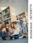university classmates studying... | Shutterstock . vector #187358774