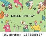 green energy lifestyle. people... | Shutterstock .eps vector #1873605637