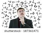 portrait of a man thinking...   Shutterstock . vector #187361471