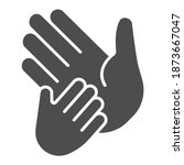 child hand on adult palm solid... | Shutterstock .eps vector #1873667047
