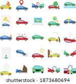 car accident isolated set that ... | Shutterstock .eps vector #1873680694