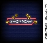shop now neon signs style text...   Shutterstock .eps vector #1873682791