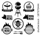 set of black grill and bbq... | Shutterstock .eps vector #187370444