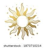 sun  golden mystical logo ... | Shutterstock .eps vector #1873710214