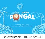 happy pongal text with top view ...   Shutterstock .eps vector #1873772434
