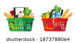 food in grocery basket isolated ... | Shutterstock .eps vector #1873788064