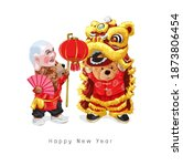 happy new year with bear doll...   Shutterstock .eps vector #1873806454