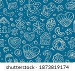 Winter Doodle Seamless Pattern. ...