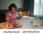 drunk woman in depression is in ... | Shutterstock . vector #1873910524