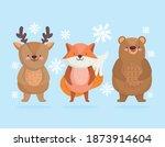 Cute Little Reindeer Bear And...