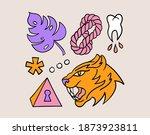 fun groovy retro set. 70s 80s... | Shutterstock .eps vector #1873923811