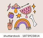 fun groovy retro set. 70s 80s... | Shutterstock .eps vector #1873923814