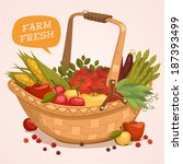 Fruit Basket. Farm Fresh. Retr...