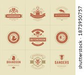 butcher shop logos set vector... | Shutterstock .eps vector #1873950757